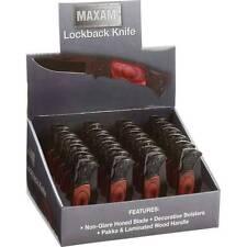 Maxam® 24 pc Lockback Pocket Knives With Pakkawood Handles In Countertop Display