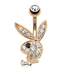 Button Piercing Playboy Bunny Inset M Coolbodyart Surgical Steel Rose Gold Belly