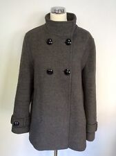 JAEGER DARK GREY DOUBLE BREASTED WOOL COAT SIZE 16