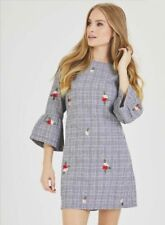 New Women Ladies Grey Grid Print Floral Embroidery Bell Sleeve Tunic Shift Dress