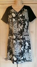 Ladies Black Tunic Top/Dress with Beige/Ivory Floral Pattern from Papaya size 10