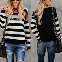Women Striped Sweater Casual Knit Tops Blouse Hoodies Pullover Jumper Sweatshirt