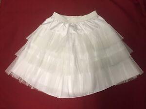 Flower Girls Off White-Ivory Soft  3 tier Lined Net petticoat Slip Skirt 2-12 Yr