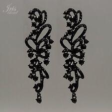 Black Alloy Jet Crystal Rhinestone Chandelier Drop Dangle Earrings 00056 Prom