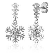 BERRICLE Sterling Silver Cubic Zirconia Snowflake Fashion Dangle Drop Earrings