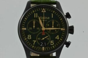 Alpina Startimer Chronograph Mens Watch 42MM Steel Vintage AL372B4S6B Vintage