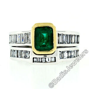 18K Gold GIA Bezel Emerald w/ Baguette Diamond Engagement Ring Stack Band Set