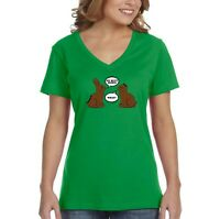 Women's Chocolate Bunnies Talking Funny Easter Holiday Spring V-Neck T-Shirt