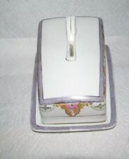 NORITAKE COVERED CHEESE DISH-FLORAL PATTERN - 7 3/4 inch - SLANTED TOP