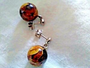 BROWN & GOLD AGATE DROP EARRINGS WITH 925 STERLING SILVER FITTINGS