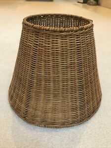 """Vintage 13"""" D x 10""""H Wicker Rattan Woven Lamp Shade Boho Coastal Country Cottage"""
