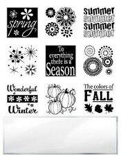 INKADINKADO RUBBER STAMPS  CLEAR 9 SEASONS INCHIE STAMP BUNDLE WITH BLOCK