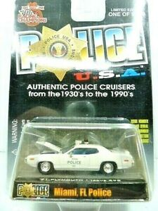 Racing Champions 1971 Plymouth Diecast Police Car Miami, FL PD New In Package