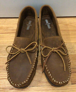 Minnetonka Double Bottom Hardsole Brown Ruff Leather Moccasin Shoes Men's 13 M