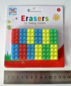 18 Novelty Pencil Erasers, rubber, shape of a  Brick, party bag, school NEW