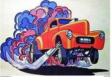VINTAGE REPRODUCTION RACING POSTER WILLYS GASSER CARTOON CAR