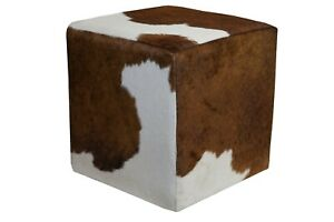 Cowhide Pouf Ottoman Cube Color Brown and White, TOP Quality