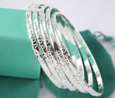 Lots 5pcs 925 Silver Carving Pattern Women's Smart Bracelet Bangle