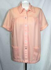True Vintage 70's - XL - Peach Orange Short Sleeve Shirt - Polyester House Coat