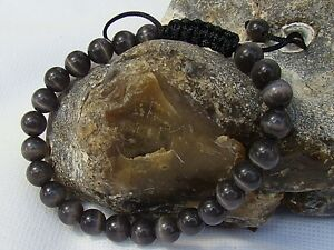 Men's Gemstone bracelet all 8mm GREY CATS EYE STONE beads