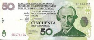 Argentina 50 Pesos P S2755 BANCO DE LA NACIÓN (LECOP) Emergency note, Alberdi VF
