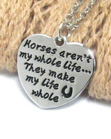 HORSE & WESTERN JEWELLERY JEWELRY LADIES HEART HORSE  MESSAGE  NECKLACE SILVER