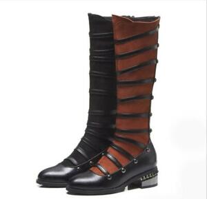 Women's Round Toe Knee High Rivet Riding Boots Zip Block Shoes Hollow Out Oxford