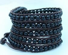 5 Wrap Bracelet Real brown leather with 4mm BLACK AGATE beads adjustable size