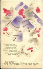 COLOUR PRINTED EMBOSSED NEW YEAR GREETINGS - BELLS & HOLLY c1912