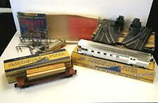 Vintage Lot Train American Flyer Silvine Track Switches Lumber Flatcar Trolley