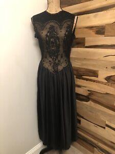 LADY CAMEO DALLAS VINTAGE BLACK LONG Slip Dress Lingerie Nightgown  LACE SIZE M
