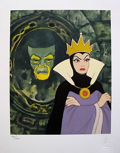 Disney SNOW WHITE EVIL QUEEN Mirror on the Wall Art Classics Stamped Giclee RARE