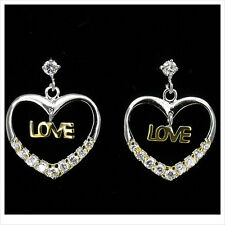 Heart Love Valentine Gift 18K W GP White Gold Plated Drop 2 Tone Earring New 380
