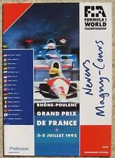 Grand Prix de France 1992 formule 1 f1 magny cours programme officiel