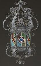 French Stained Glass Wrought Iron Hall Lantern, late 19th c., the lea. Lot 866