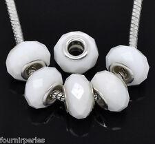 20 Perles FP verre Facette Blanc pr Bracelet charm 14x9mm