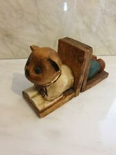 Wooden Hand Carved Teddy Bear Book Ends so cute