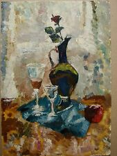 Russian Ukrainian Soviet Oil Painting Still-life impressionism jug shot glass