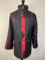 Umbro Vintage Retro 90's Manchester United Black Red Managers Long Jacket Coat M
