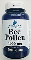 Bee Pollen 1000mg 200 Capsules High Quality Fresh Immune Booster USA Gluten Free