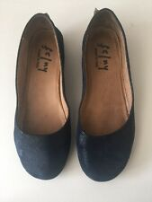 French Sole FS/NY Zeppa Wave Blue Wave Low Wedge flat Shoes size 7.5