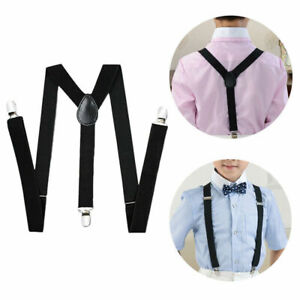 Kids Adjustable Braces Suspender Wedding Party Girls Boys Formal Elastic Y Back
