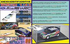 ANEXO DECAL 1/43 FORD FIESTA RS WRC M.HIRVONEN R.AUSTRALIA 2011 WINNER (01)