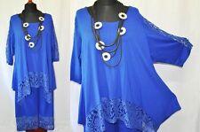 Lagenlook A-Linie-Oversize-Zipfel-Tunika Jersey+Spitze royal-blau 48,50,52,54