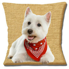 "WEST HIGHLAND WHITE WESTIE RED SCARF BEIGE TAN TEXTURE 16"" Pillow Cushion Cover"