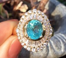Vintage Estate 2ct Eatrh Mined Blue Apatite14k gold plated sterling silver ring