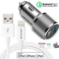 OEM Certified Lightning USB Cable+5.4A Car Vehicle Charger F iPhone XS Max XR X