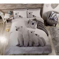 POLAR BEAR FAMILY DOUBLE DUVET COVER SET ANIMAL PRINT BEDDING FREE P+P