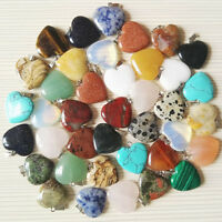 Wholesale Heart-shaped Natural Stone Crystal Gemstone Pendant Necklace Jewelry