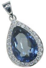 Mystic Quartz Pear Gemstone Sparkling Sterling Silver Pendant + Chain